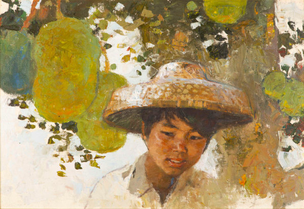 Chen Yanning, 'Young Boy with Fruit', oil on board. Photo: Adam's