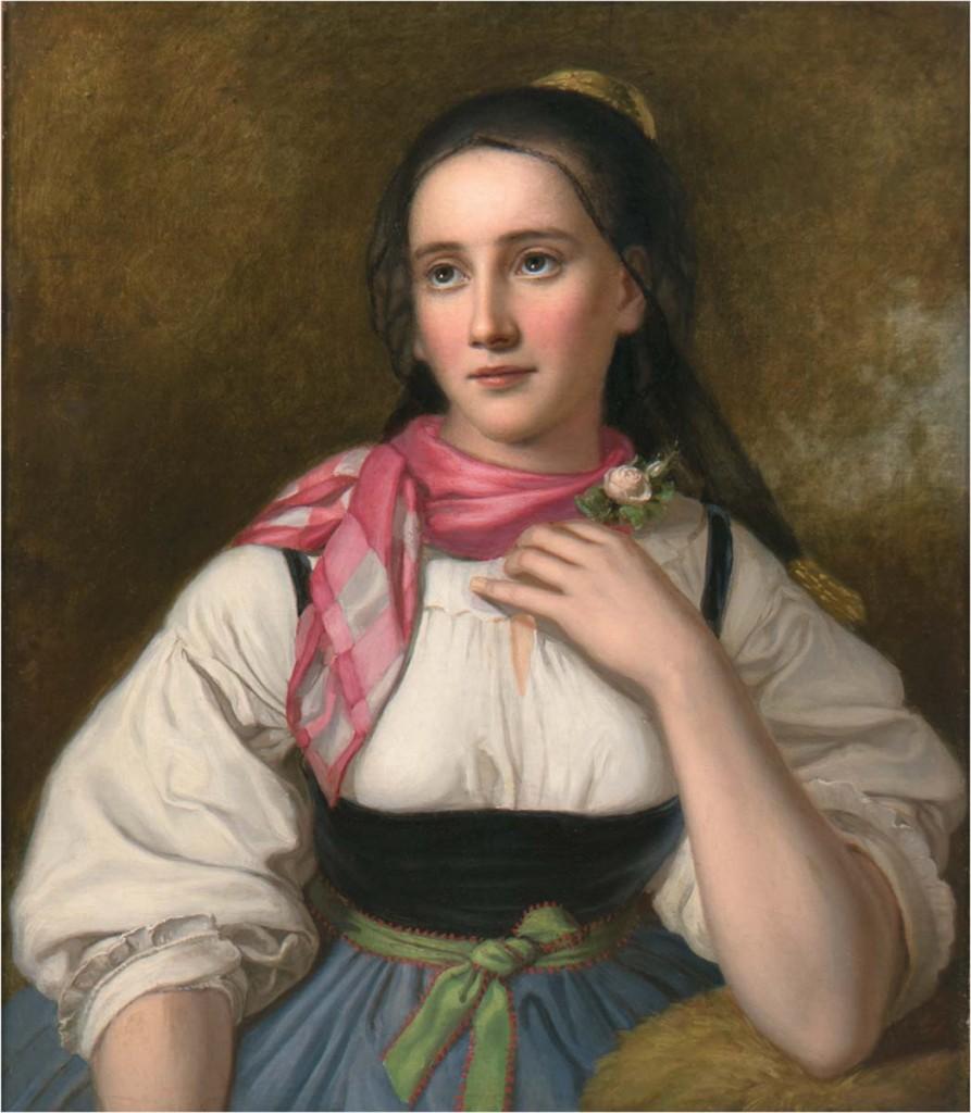 JOHANN BAPTIST REITER (1813 Urfahr-1890 Wien) - Bildnis einer Linzerin - Mädchen in oberösterreichischer Tracht, Öl/Lwd., 70x58 cm, WVZ-Nr. 294 Limitpreis: 3.500 EUR