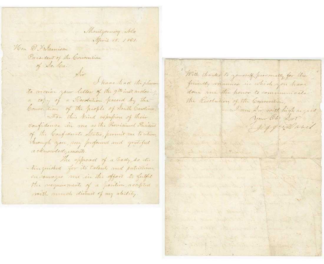 "Historically significant Jefferson Davis acceptance letter as the Provisional President of the Confederate States, signed (""Jeffn Davis"") and dated (""April 18, 1861""), (est. $30,000-$35,000)."