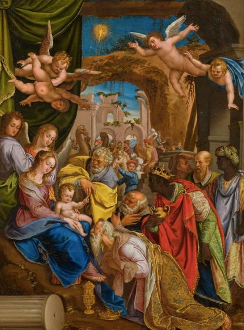 DENYS CALVAERT (Antwerpen 1540-1619 Bologna) - Die Anbetung der Könige, Öl/Kupfer, 56,4 × 40,5 cm Schätzpreis: 50.000-100.000 EUR