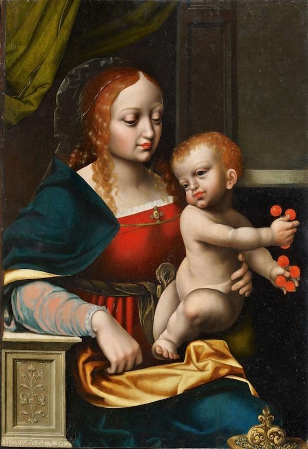 Mästare från Antwerpen, Jungfru Maria med Jesusbarnet, olja, 62,5 x 42,5 cm, cirka 1560.