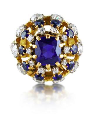 René Boivin Bague de cocktail saphirs et diamants Humphrey Butler