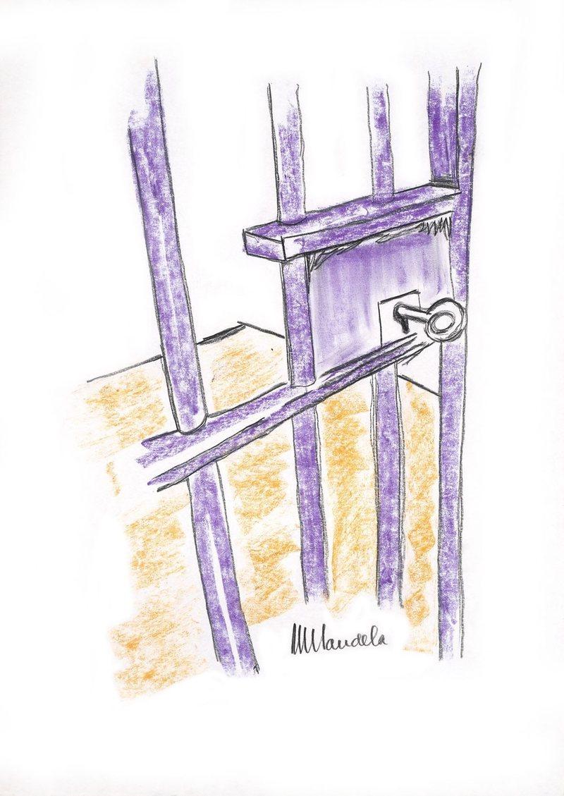 Nelson Mandela, The Cell Door, Robben Island, image © Bonhams