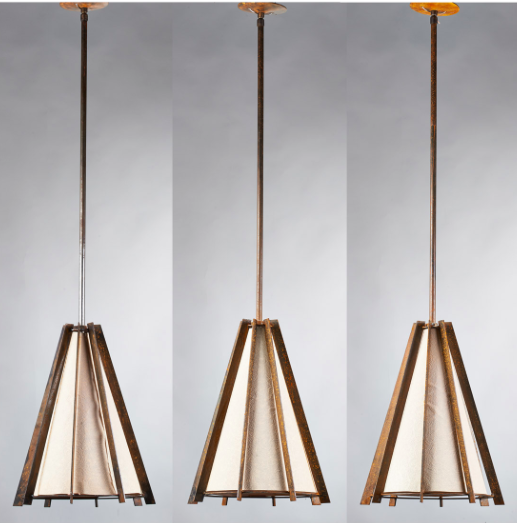Bernard Healy Three brutalist ribbed metal pendant lamps with paper shades, USA 1960s; Metal, paper