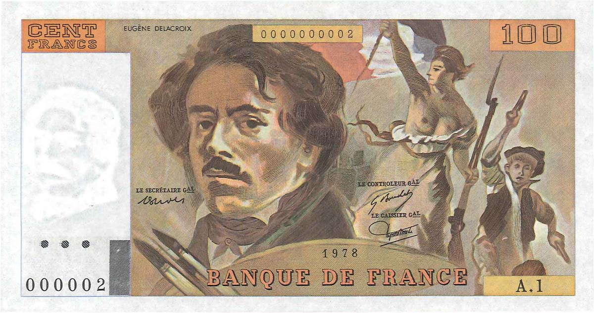 100 Francs DELACROIX FRANCE 1978 F.68.01