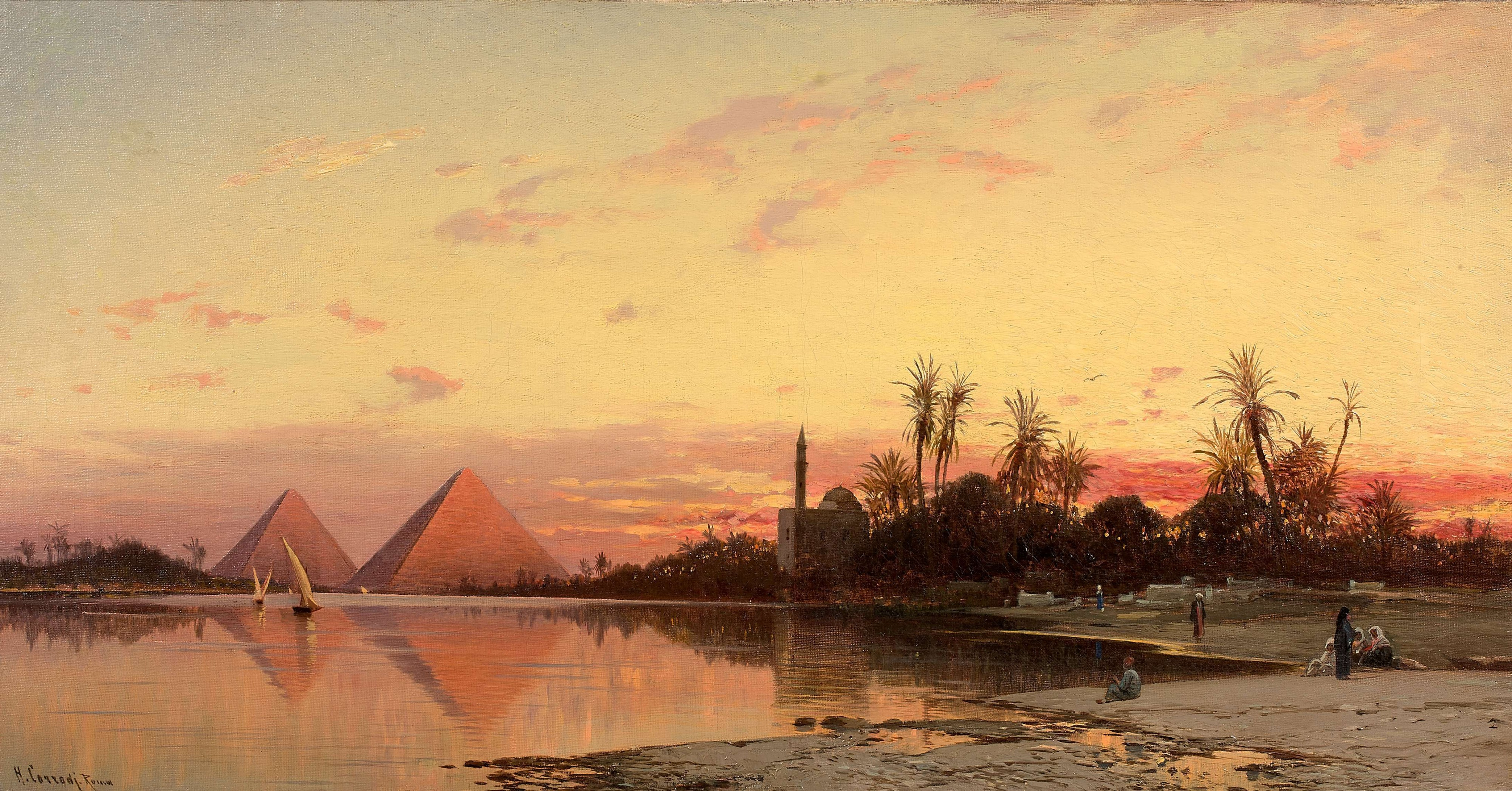 Hermann Corrodi, 'Coucher de soleil sur les pyramide (Sunset on the Pyramids)'. Photo: Artcurial