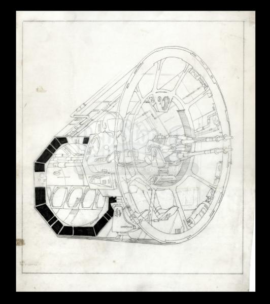 Hand-drawn Millennium Falcon Gun Port with Laser Cannon and Crew Operator. Photo: Prop Store