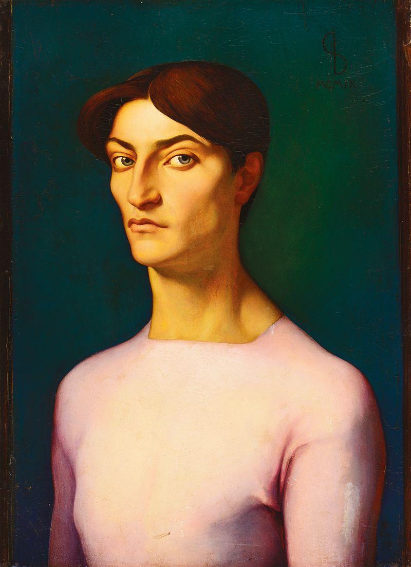 Léonard Sarluis (1874 – 1949) Portrait à la blouse rose