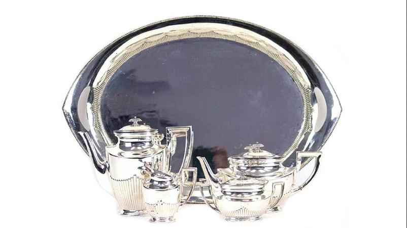 KÜHN - 5-teiliges Kaffee- und Teeservice auf Tablett im englischen Stil, Silber, Schwäbisch Gmünd