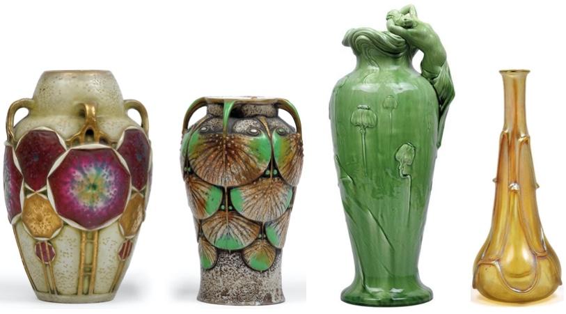 Links: ERNST WAHLISS - Zwei Vasen mit Ösenhenkeln und stilisiertem floralen Reliefdekor, goldstaffiert, Turn/Wien um 1910 Schätzwert: 1.000-1.300 EUR Mitte: DELPHIN MASSIER - Bodenvase aus grün glasierter Keramik, figürliche Handhabe, Vallauris um 1900 Schätzwert: 1.600-2.000 EUR Rechts: LÖTZ WITWE - Enghalsvase mit irisierendem Dekor candia Silberiris, Klostermühle um 1900 Schätzwert: 1.000-1.3000 EUR