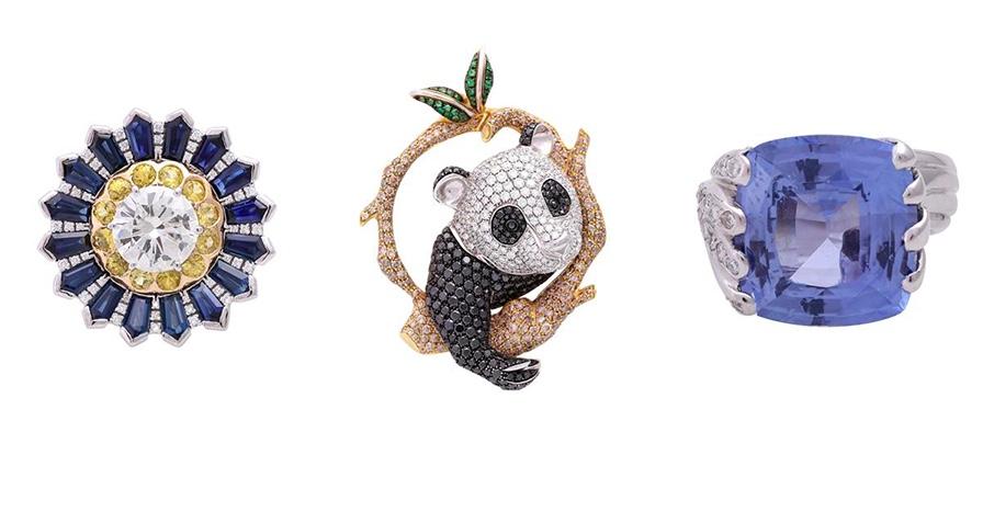 """Links: PELLEGRINO Monaco - Ring mit Brillant (3,0 ct), blauen und gelben Saphiren, Brillanten Mitte: ZEGG & CERLATI Monaco - Anhänger """"Pandabär"""" mit weißen, schwarzen und cognacfarbenen Brillanten und Tsavoniten Rechts: Ring mit Saphir im Cushion-Schliff (ca. 20 ct) und Brillanten"""