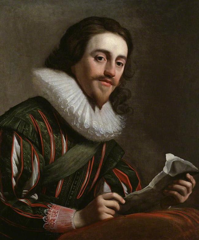 Porträtt av en 28-årig Charles I av England, målat av Gerrit van Honthorst år 1628