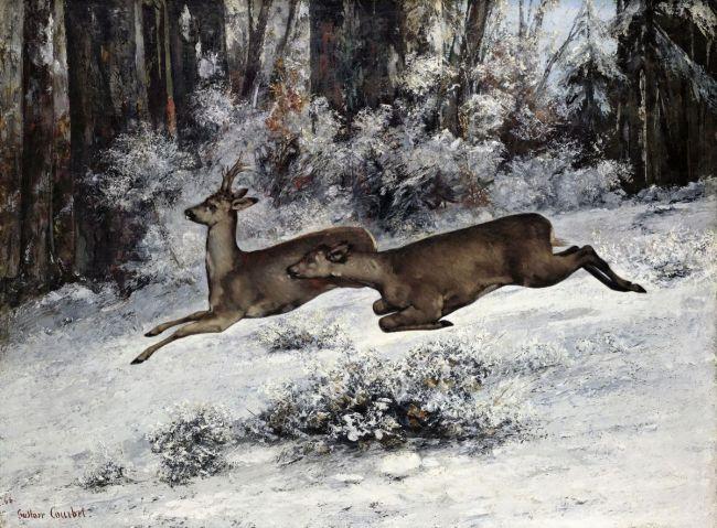 GUSTAVE COURBET - Le Change, épisode de chasse au chevreuil en Franche-Comté, 1866