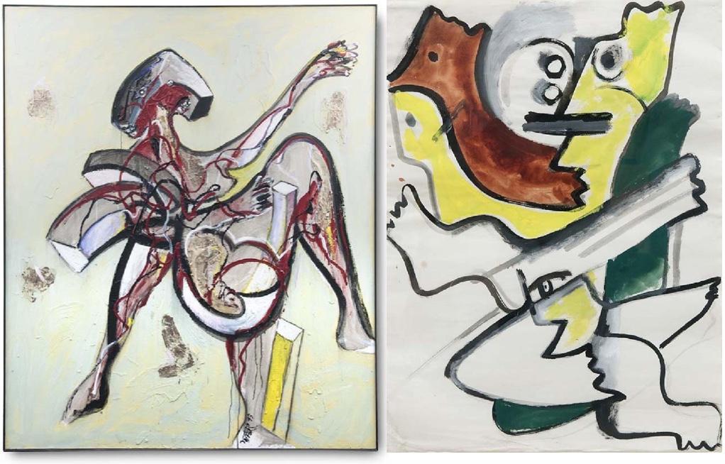WOLF VOSTELL (1932 Leverkusen - 1998 Berlin) Links: o.T., Acryl, Betonpulver, Kunstharz, Blattgold/Lwd., signiert und datiert, 1993 Rechts: o.T., Aquarell/Bütten, 1956