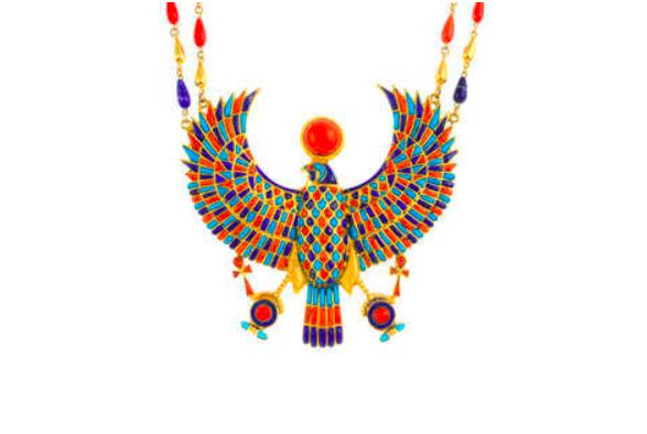 Collier égyptien en pierres précieuses, figure d'Horus, image ©Fellows