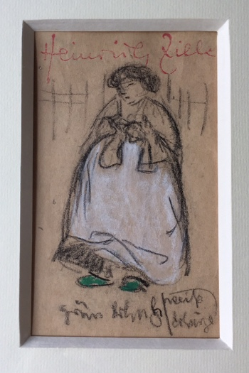 HEINRICH ZILLE (1858-1929) - Grüne Schuhe, weiße Schürze, Kohlestift und Farbkreide, 14,5 x 9 cm im Passepartout Limitpreis: 1.450 EUR
