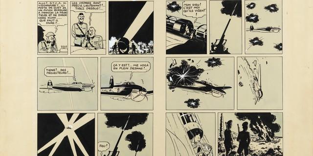 """La double planche du """"Sceptre d'Ottokar"""" d'Hergé a été adjugée 1,6 M d'euros. Image Sotheby's Paris"""