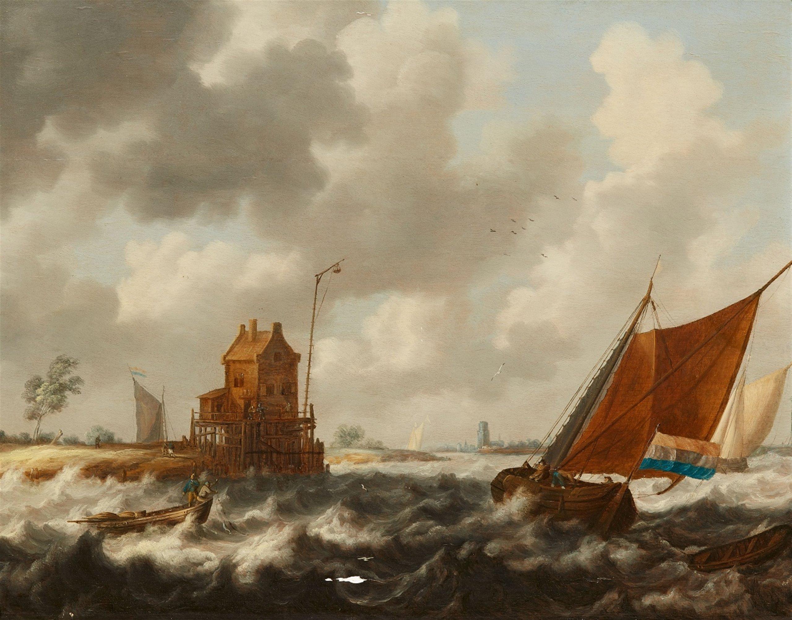 Bonaventura Peeters (Anvers 1614 - 1652 Hoboken), Paysage avec bateaux de pêcheurs - Lempertz. Estimation: 7000€ - 9000€