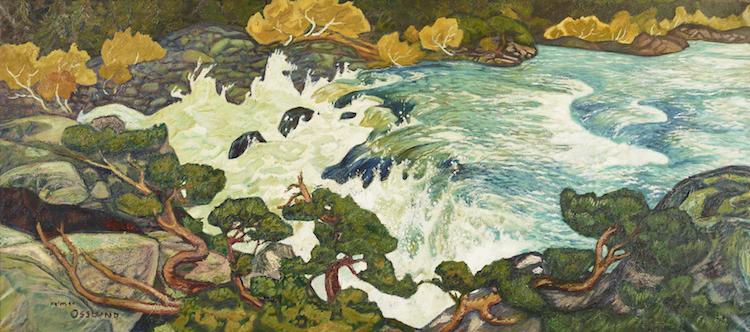 """Redan 1915 målade Helmer Osslund """"Vattenfall, Porjus"""", som idag finns i Nationalmuseums samlingar, en så kallad """"drapa"""", som Osslund själv kallade sina långsmala målningar. I det långsmala formatet kunde han avbilda ett helt landskap eller som i det här fallet följa ett vattenflöde i hela dess längd. Utropet är"""