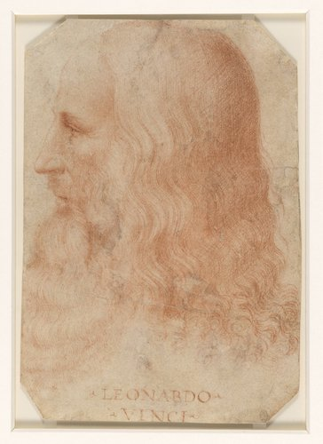 Portrait of Leonardo da Vinci, attributed to Francesco Melzi. 1518-19, red chalk drawing. Image: Royal Collection Trust