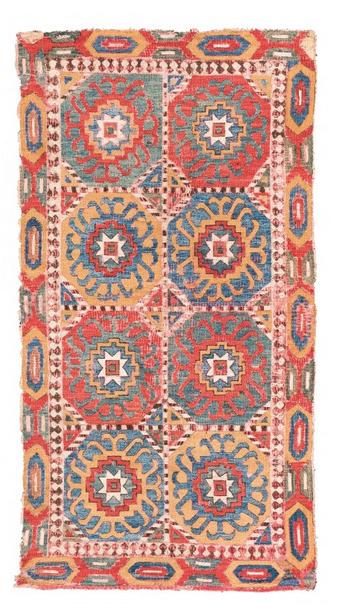 Kaukasische Stickarbeit, Wolle/Seide, 123 x 65 cm, Kaukasus, spätes 17. Jhdt. Schätzpreis: 25.000 - 35.000 EUR