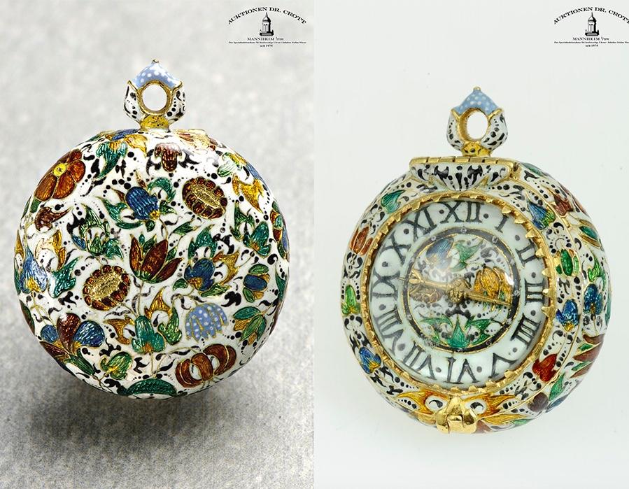 Miniatur-Goldemaille-Spindeltaschenuhr, William Clay, ca. 1630