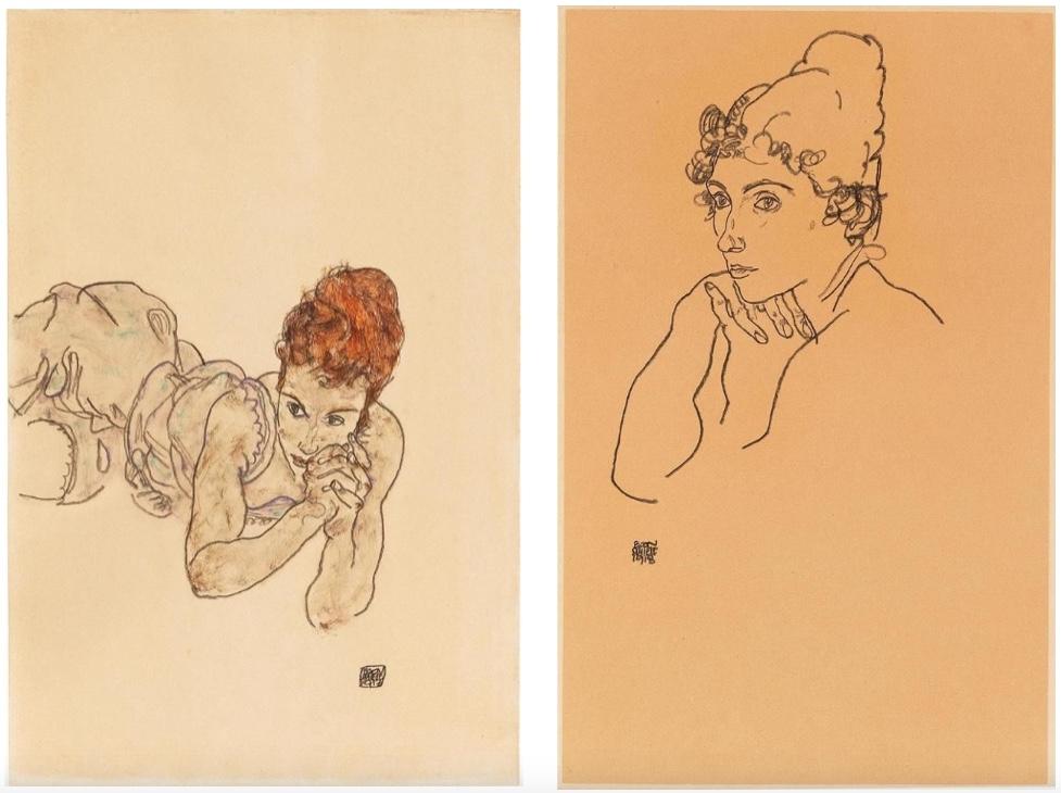 EGON SCHIELE (1890 Tulln - 1918 Wien) Links: Liegende Frau, Gouache, schwarzer Stift/Papier, signiert und datiert, 1917 Rechts: Frauenkopf, schwarzer Stift/Papier, signiert und datiert, 1918