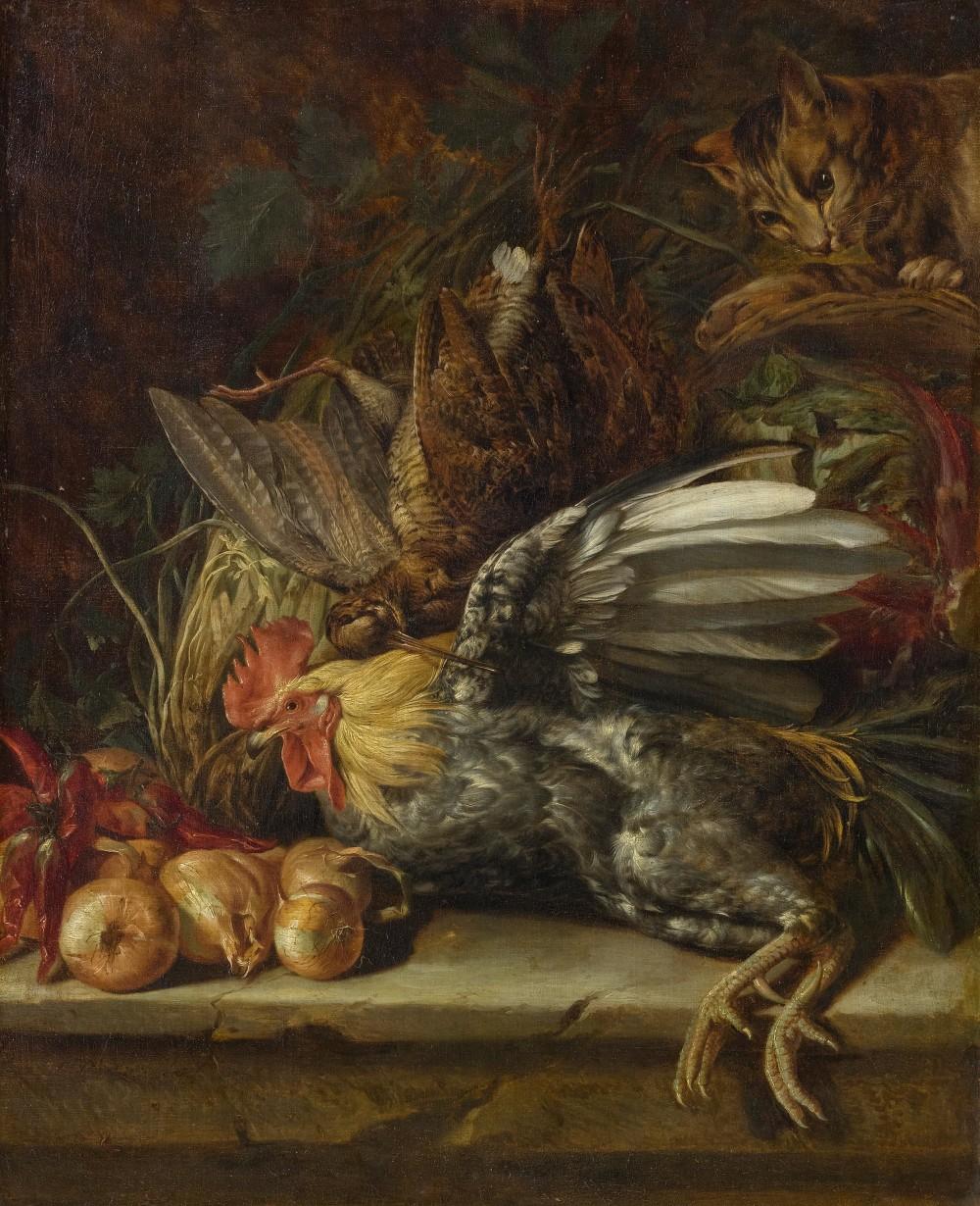 Christoffel Puytlinck (1638- ca. 1679) Roermond, stilleben med fåglar och en katt.