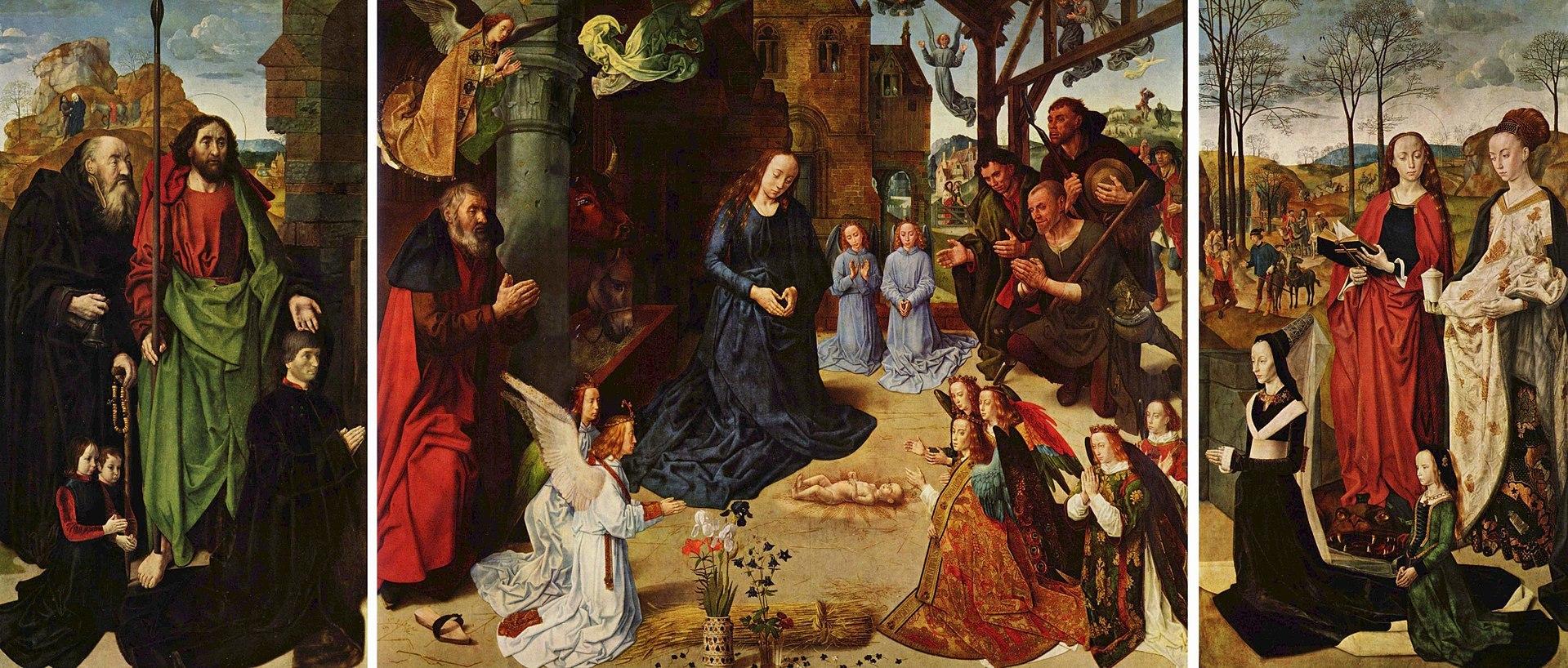 HUGO VAN DER GOES (1435 / 1440-1482) - Le triptyque Portinari, couleur / bois, 1473-77 Florence, Galleria degli Uffizi