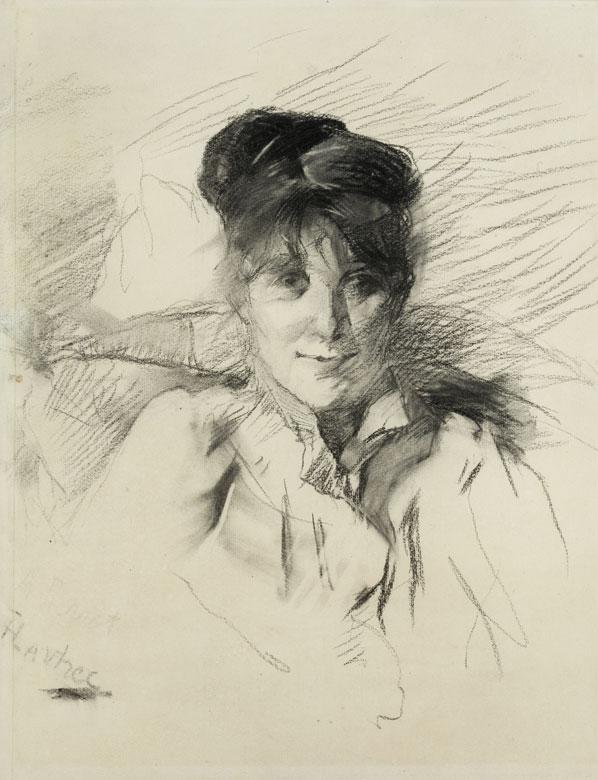 HENRI DE TOULOUSE-LAUTREC (1864 Albi – 1901 Schloss Malromé) - Frauenportrait, Kohle/Papier, signiert, um 1895