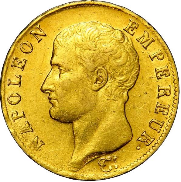 Lot 392054, 40 francs or Napoléon tête nue, Calendrier grégorien 1806 Turin
