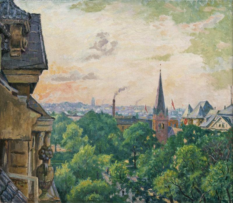 ERNST EITNER (1867 Hamburg 1955) - Schäferkampsallee mit Christuskirche, Öl/Lwd., signiert und datiert, 1938