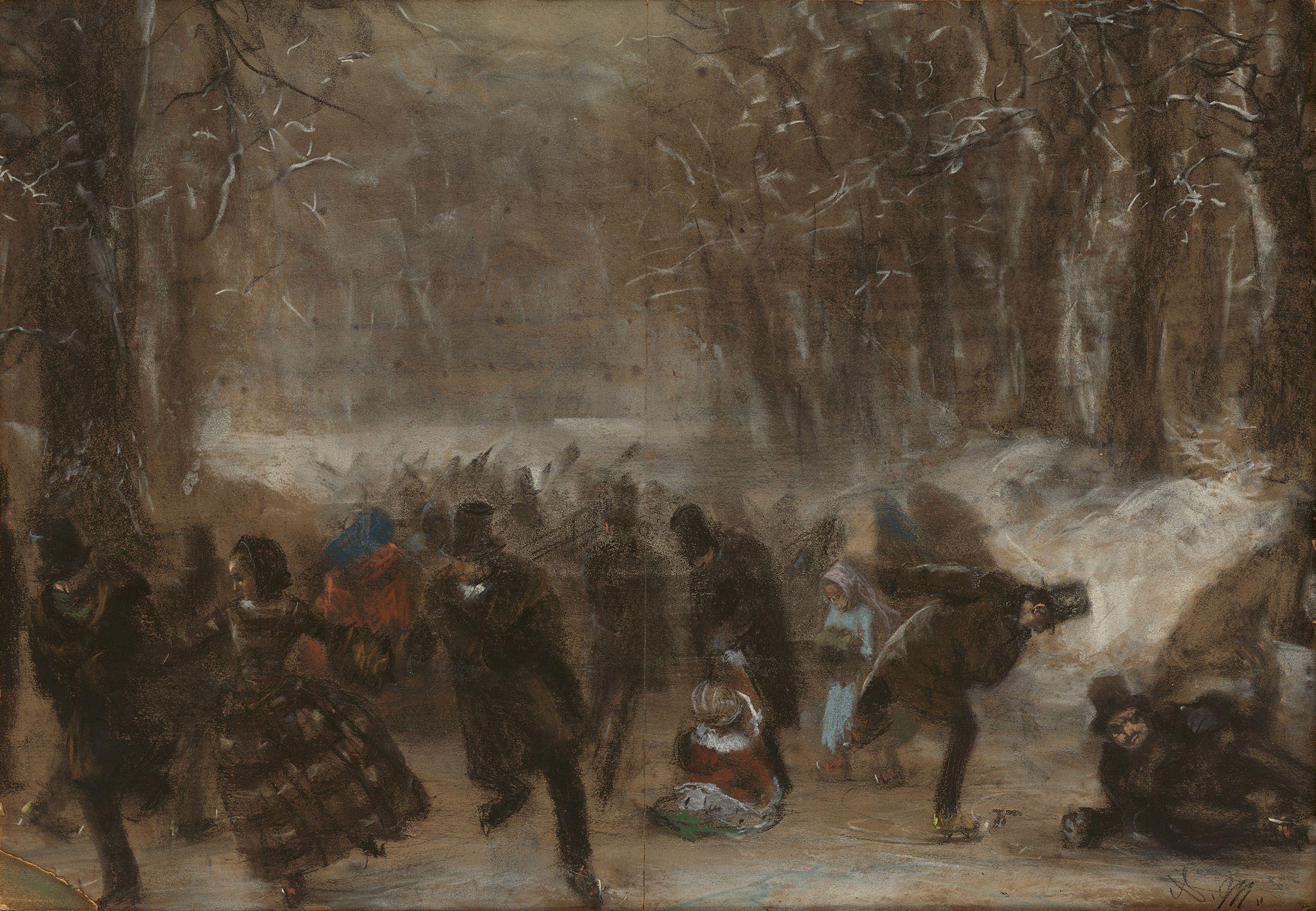 ADOLPH MENZEL (1815 Breslau - 1905 Berlin) - Schlittschuhläufer (im Tiergarten in Berlin?), Kreide/Papier/Karton, monogrammiert, um 1855/56