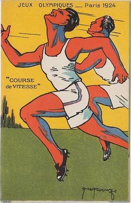 JEUX OLYMPIQUES PARIS 1924  Course de Vitesse - carte illustrée par ROOWY Clément Maréchal Prix fixe: 37 €