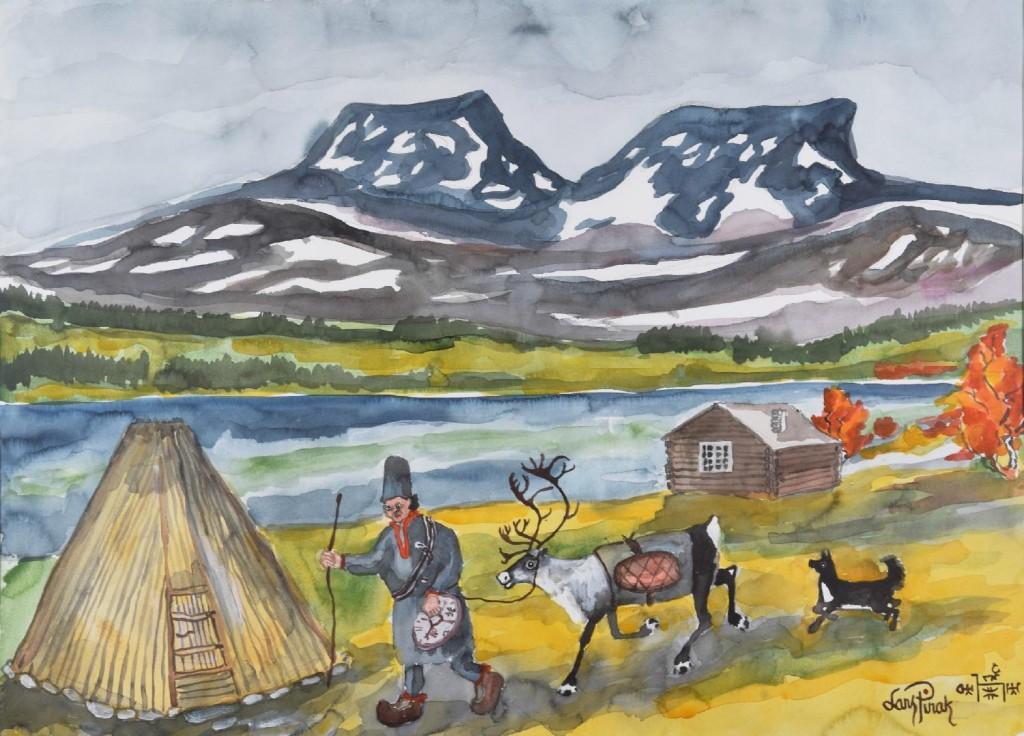 "Lars Pirak ""Vid Fatmomakke"". Bild: Norrlands Auktionsverk"