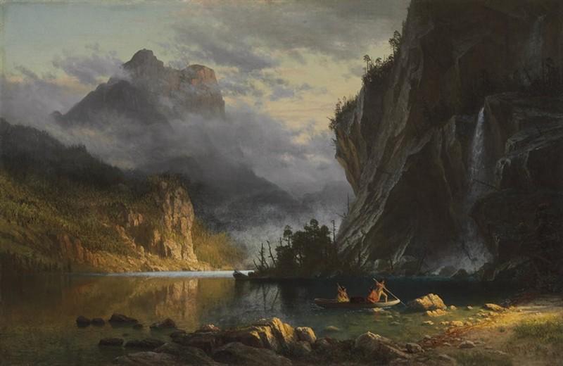 "ALBERT BIERSTADT. ""Indians Spear Fishing"". Óleo sobre lienzo (1862)"