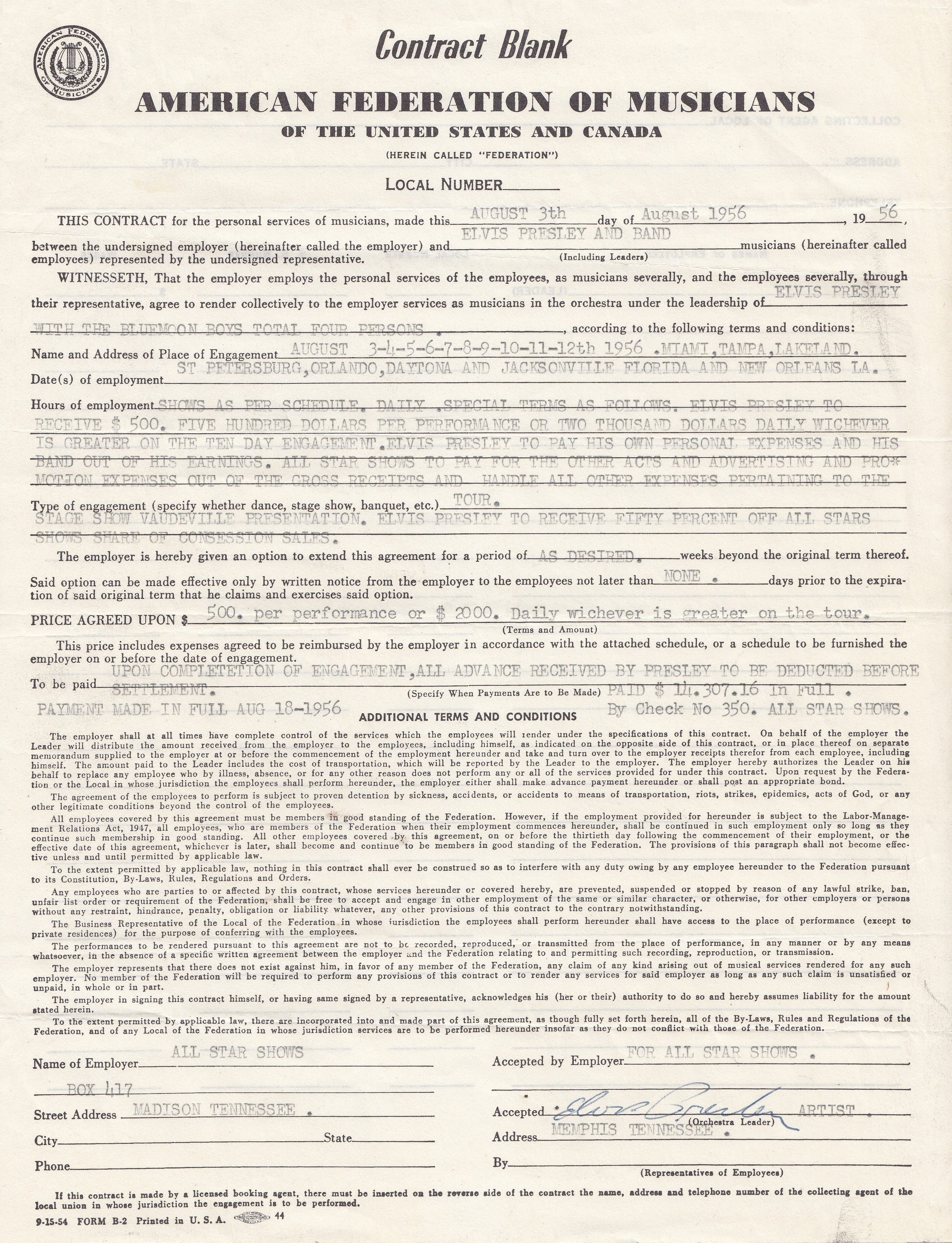 Elvis Presley's personally owned famous hand signed 1956 August Tour performance contract for August 1956. This tour was regarded as one of the was one of the most important and the Genesis for the Rock and Roll phenomena, 1956 the year that Elvis truly exploded onto the scene. Photo: Henry Aldridge & Son