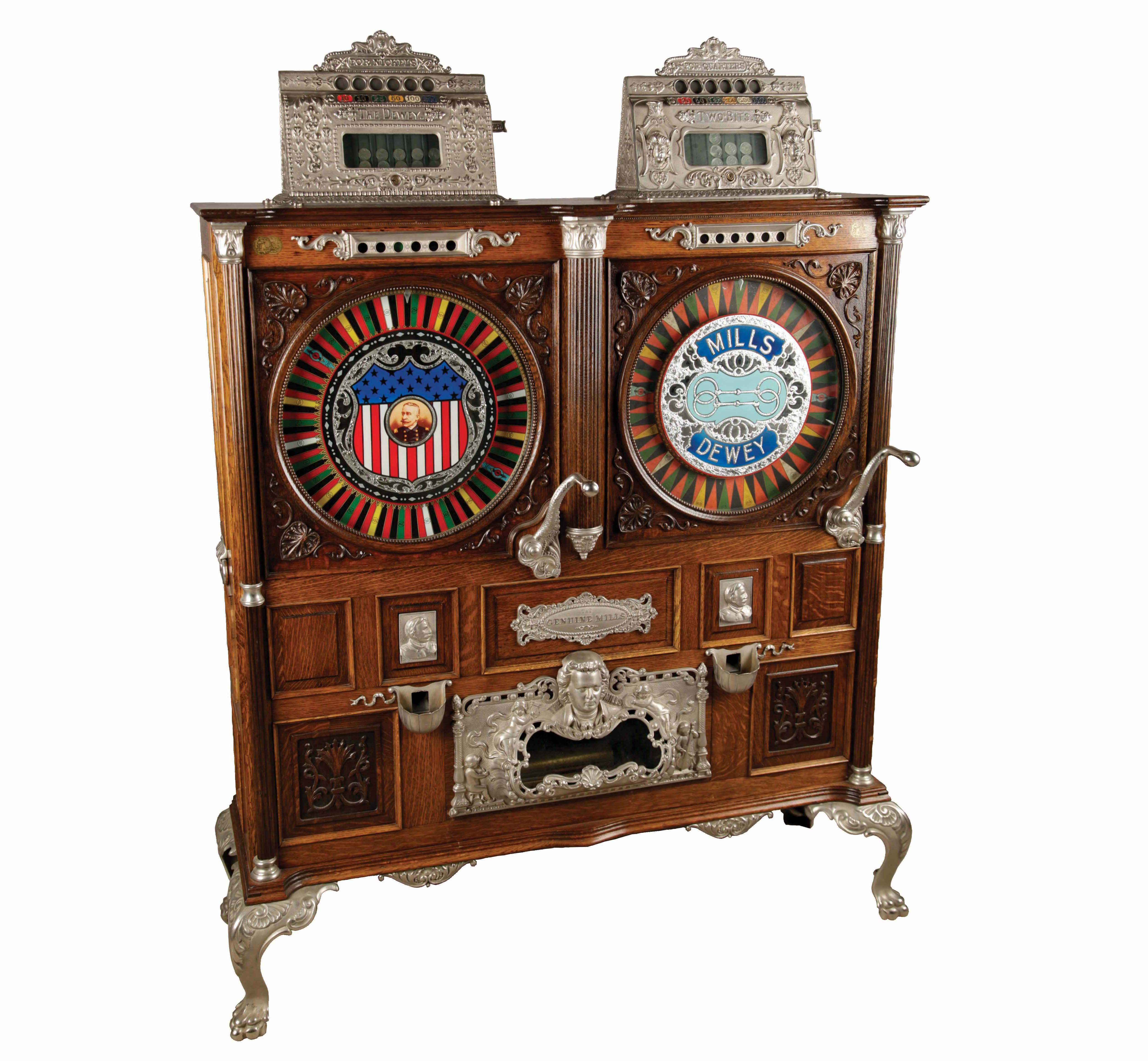 Machine à sous Mills Novelty Co. Double Dewey alimentée par 5 et 25 centimes de dollars