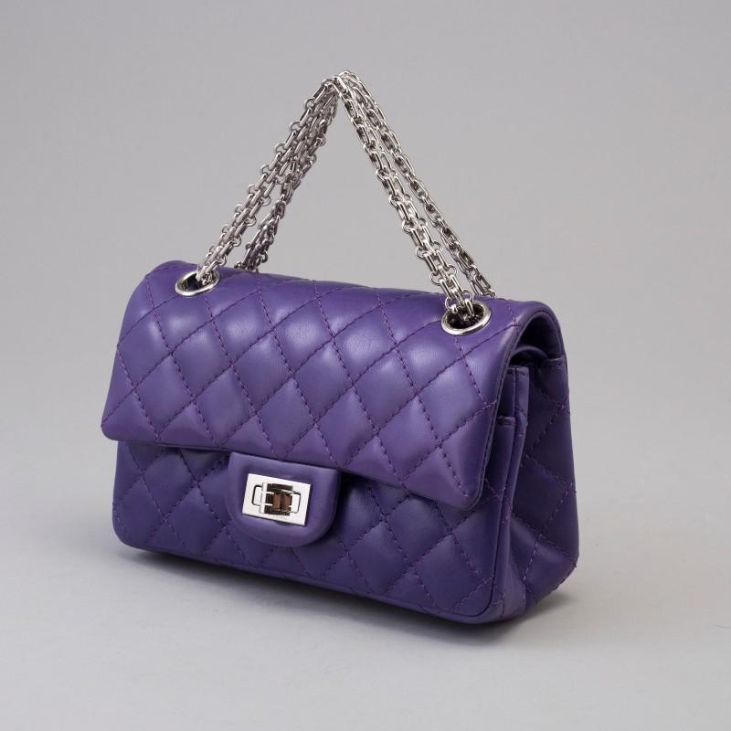 Chanel Reissue, double flap bag mini. Lila kalvskinn.
