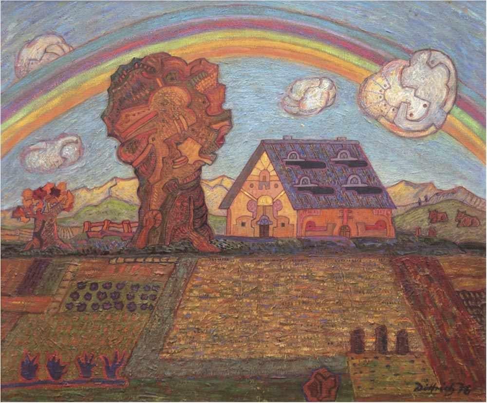 SIMON DITTRICH (*1940 Teplitz-Schönau) - Unterm Regenbogen, Öl/Lwd., signiert und datiert, 1976