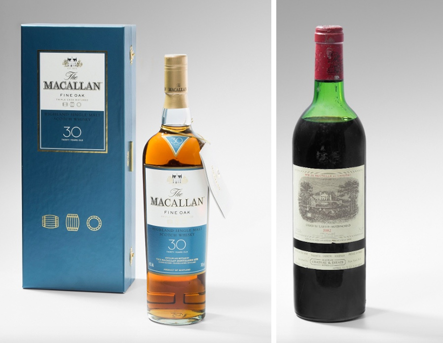 Links: The Macallan 30 Jahre, Single Malt Highland Scotch Whisky, Fine Oak Triple Cask Rechts: Chateau Lafite Rothschild 1982 1er Grand Cru Pauillac