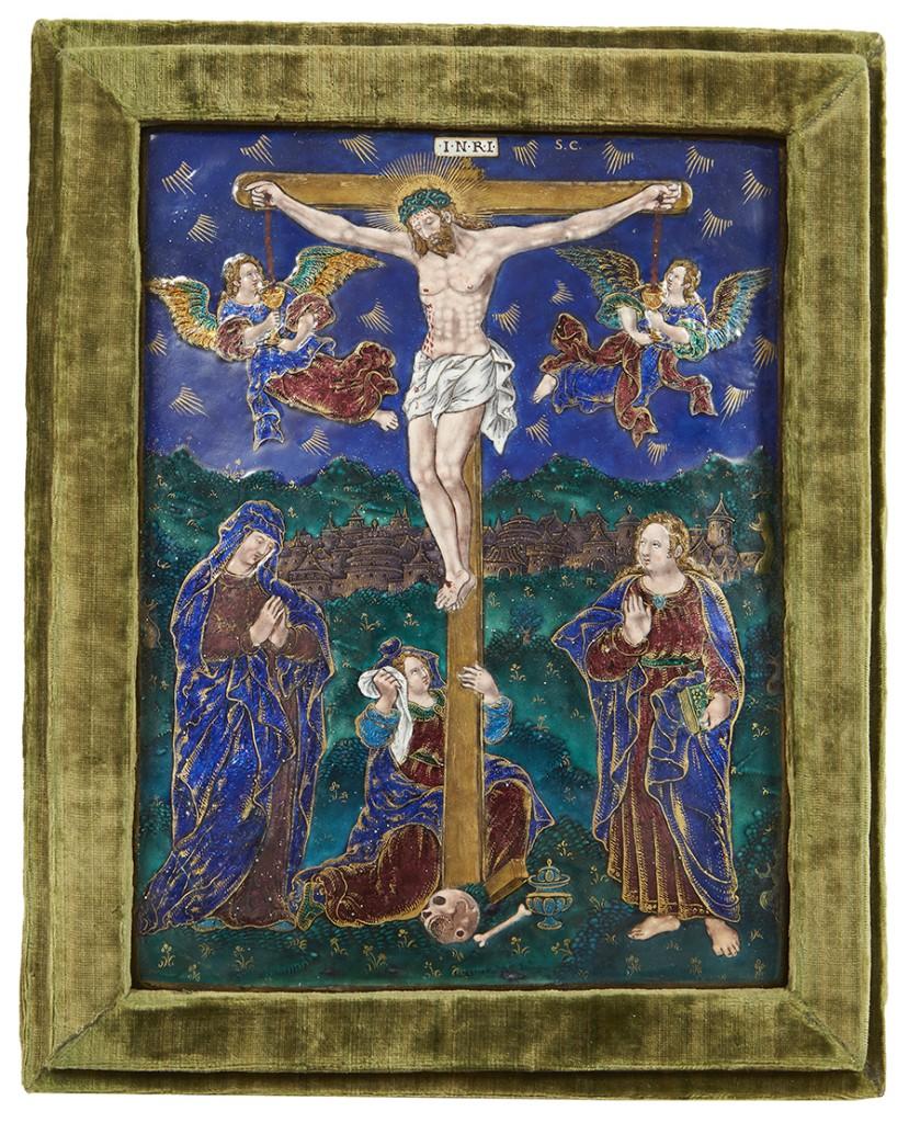 Plaque rectangulaire en émail représentant la Crucifixion Signé en haut à gauche S.C. Suzanne de Court. Limoges fin du XVIème siècle