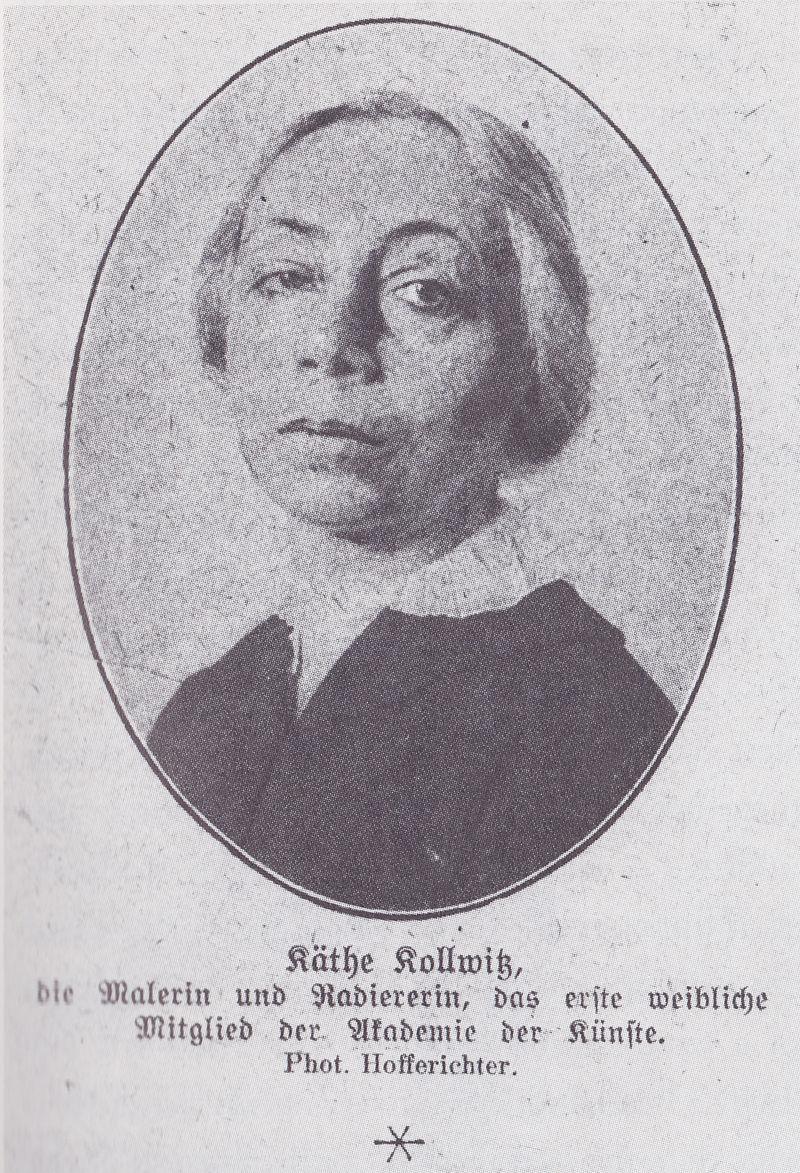 Fotografie von Käthe Kollwitz aus dem Jahr ihrer Ernennung zum ersten weiblichen Mitglied der Preußischen Akademie der Künste