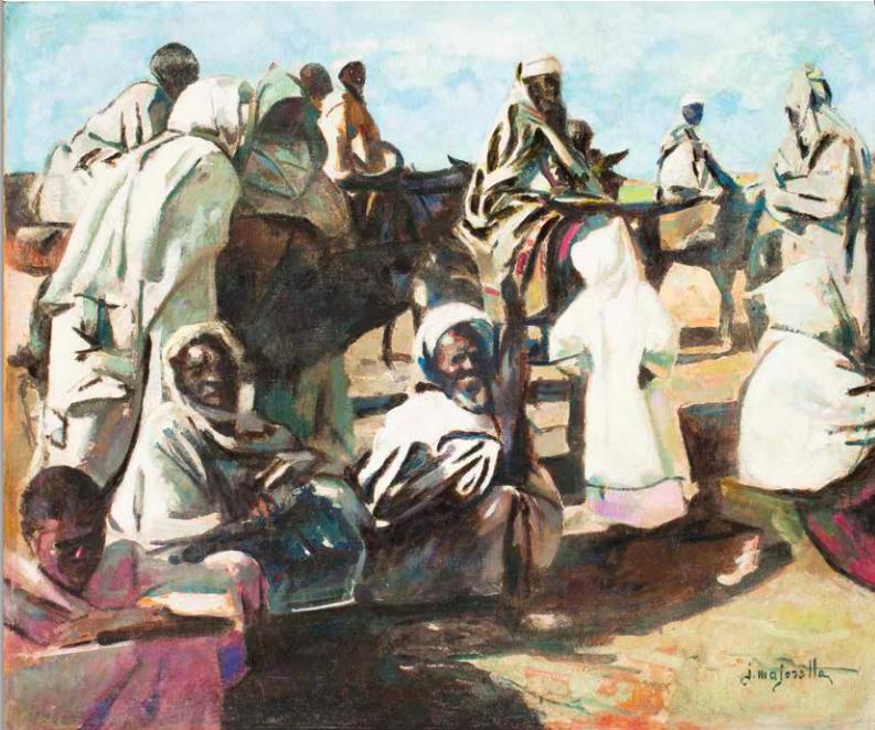 Lot 44 Jacques Majorelle L'arrivée au souk, Marrakech Huile sur toile, signée en bas à droite. 60 x 73 cm Estimation: 60000/80000€