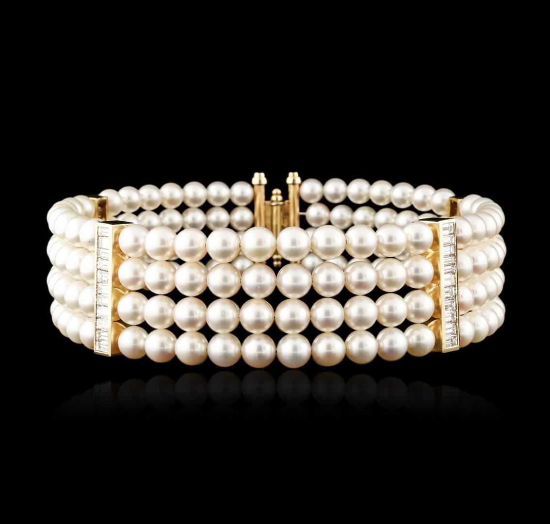 14ct yellow gold pearl and diamond choker