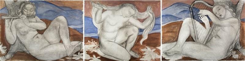 """ÉLISABETH CHAPLIN. """"Musique"""". Témpera y lápiz. Firmado (años 1920-30)"""