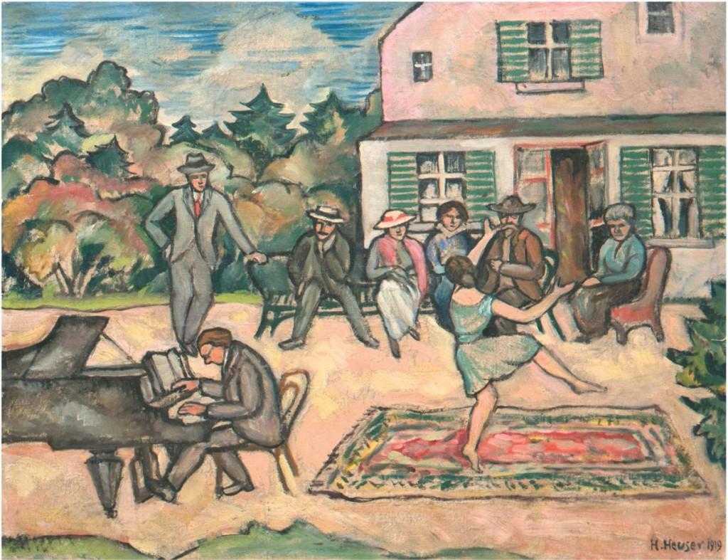 HEINRICH HEUSER (1887 Stralsund-1967 Berlin) - Darmstädter Sezzesionstreffen, Öl/Lwd., 42x48 cm, signiert und datiert, 1919 Limitpreis: 1.000 EUR