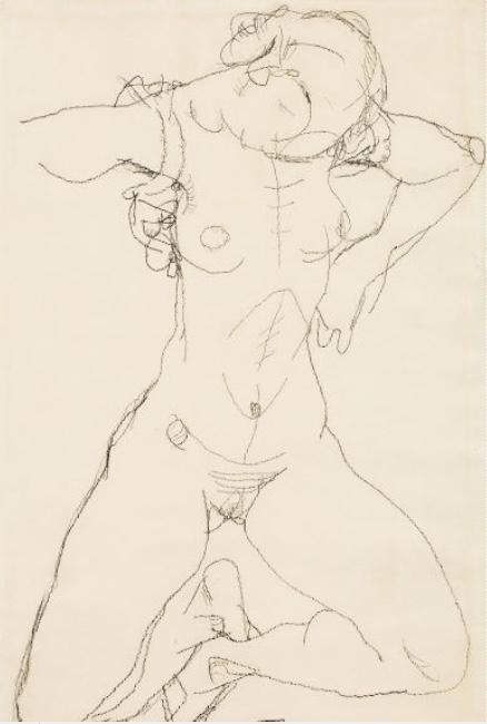EGON SCHIELE (Tulln 1890 - 1918 Wien) - Frauenakt, Bleistift/Papier, 48x31,7 cm, signiert und datiert, 1914 Schätzpreis: 180.000-360.000 EUR