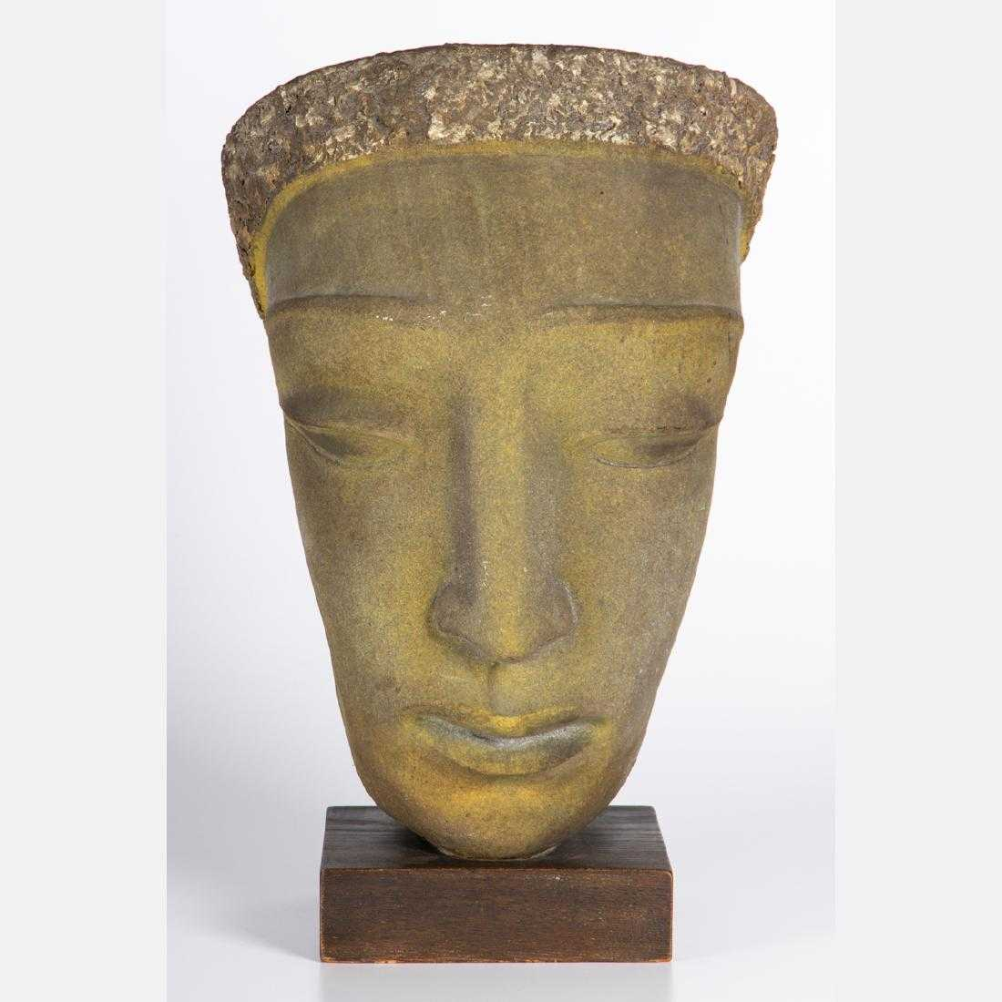 Painted terracotta sculpture titled Head of a Woman by Edris Eckhardt (1905-1998), an American artist associated with the Cleveland School, 19 inches tall (est. $3,000-$5,000).