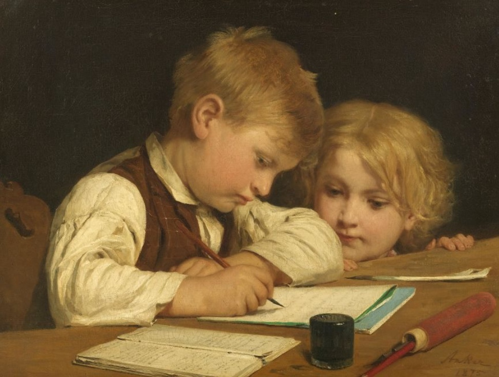 Albert Anker, Writing boy with sister I, oil / canvas, signed and dated, 1875